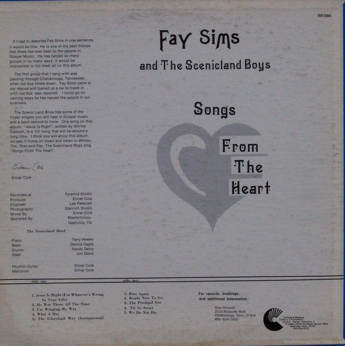 """Fay Sims & the Scenicland Boys – """"Songs from the Heart"""""""
